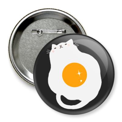 Значок 75мм Кот-яичница