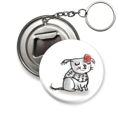 Брелок-открывашка Маленькая собака с розой на ухе