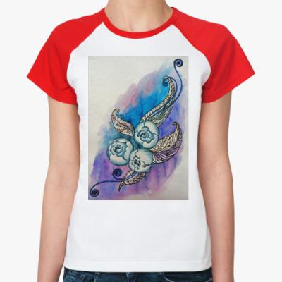 Женская футболка реглан Пионы