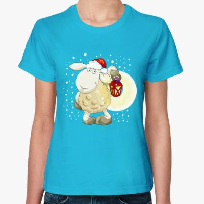 Женская футболка Новогодняя овечка 2015 с фонариком