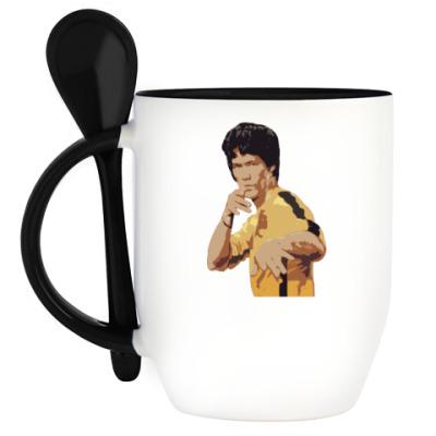 Кружка с ложкой Bruce Lee