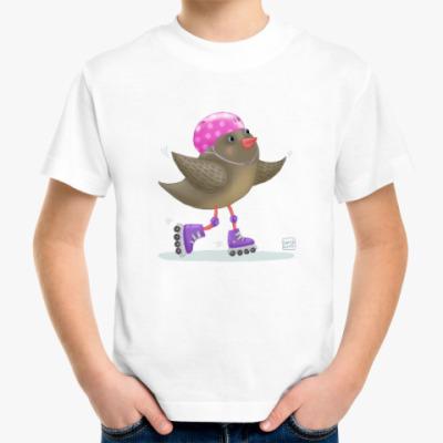 Детская футболка птица на роликах