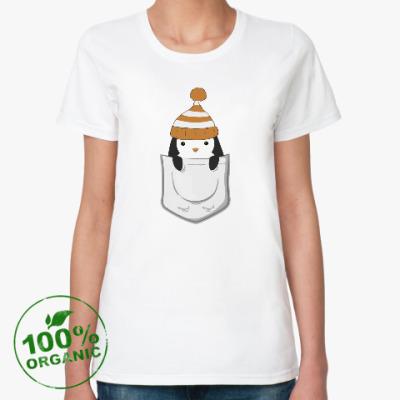 Женская футболка из органик-хлопка Пингвин в кармашке