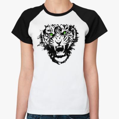 Женская футболка реглан ТИГРИНЫЙ ОСКАЛ