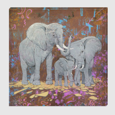 Холст Семья слонов