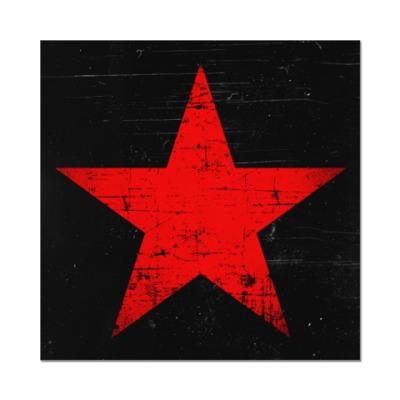 Наклейка (стикер) Потертая Красная Звезда