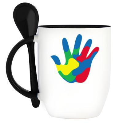 Кружка с ложкой Отпечаток Руки