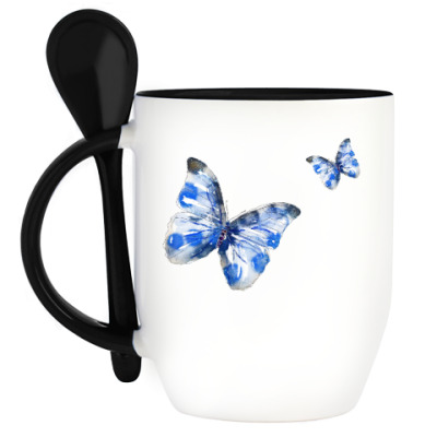 Кружка с ложкой Бабочки