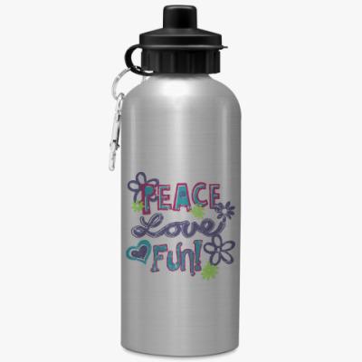 Спортивная бутылка/фляжка Мир, Любовь, Веселье!