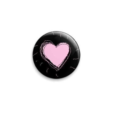 Значок 25мм  Розовое сердце