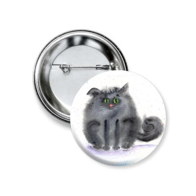 Значок 37мм акварельный кот