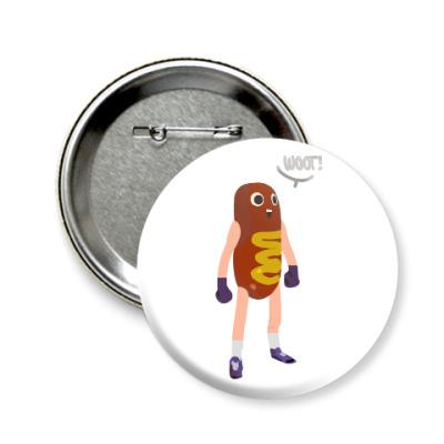 Значок 58мм Hot Dog Man