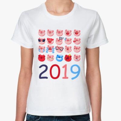 Классическая футболка Год свиньи 2019