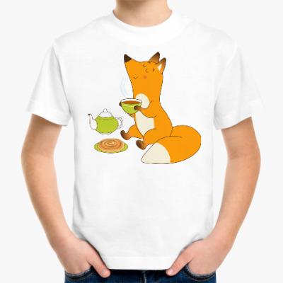 Детская футболка Лисёнок пьёт чай с плюшкой