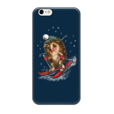Чехол для iPhone 6/6s Ежик зимний на лыжах
