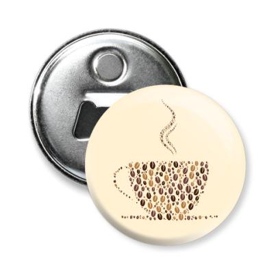 Магнит-открывашка Кофе из кофейных зерен
