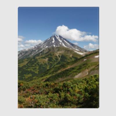 Холст Пейзаж полуострова Камчатка: лето, вулкан и горы