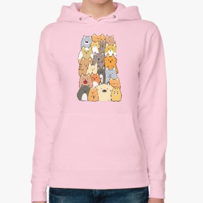 Женская толстовка худи Смешные коты (funny cats)