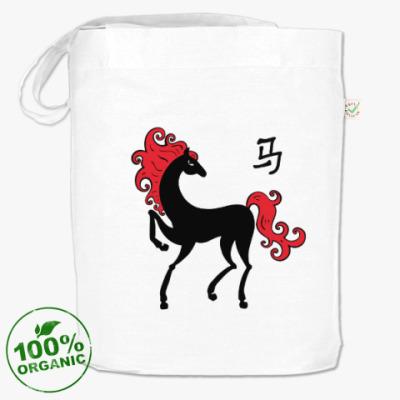 Сумка Чёрная лошадь с красной гривой