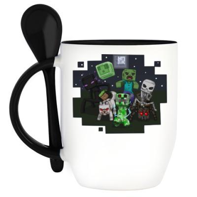 Кружка с ложкой Minecraft