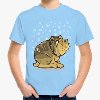Детская футболка Собачка бульдог и снежинки