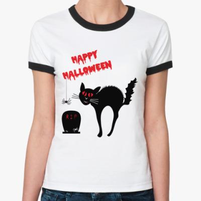 Женская футболка Ringer-T Ужасы Хэллоуин