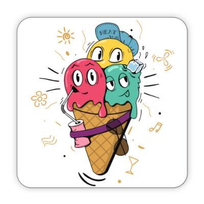 Костер (подставка под кружку) Смешные шарики мороженного