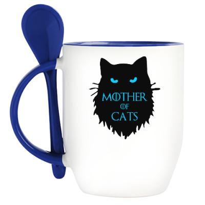 Кружка с ложкой Mother of cats