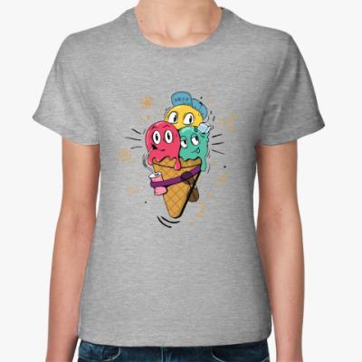 Женская футболка Смешные шарики мороженного
