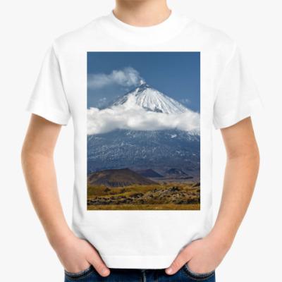 Детская футболка Ключевской вулкан, Камчатка