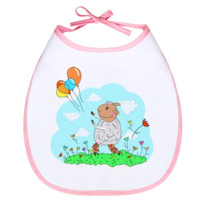 Слюнявчик Овечка с воздушными шариками