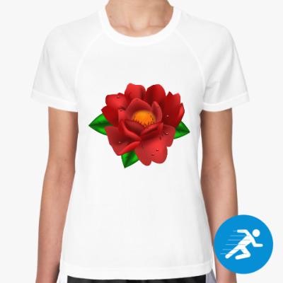 Женская спортивная футболка сочный пион