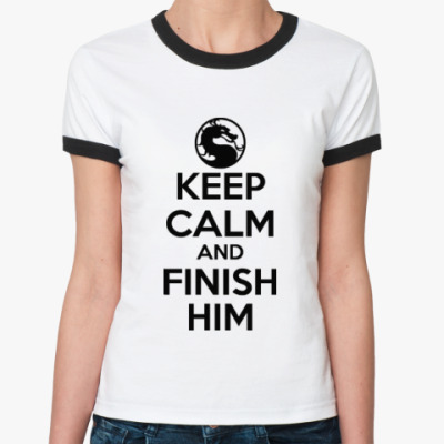 Женская футболка Ringer-T Keep calm and finish him