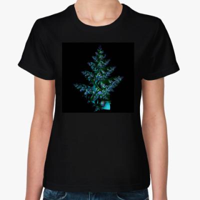 Женская футболка новогодняя елка с шарами