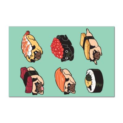 Наклейка (стикер) Суши мопс