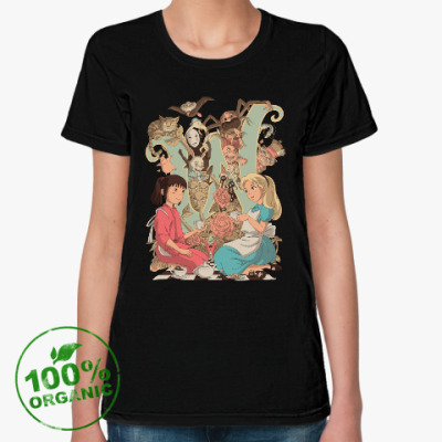 Женская футболка из органик-хлопка Wonderland Alice and Chihiro