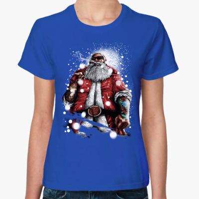 Женская футболка Четкий Санта Клаус с подарком