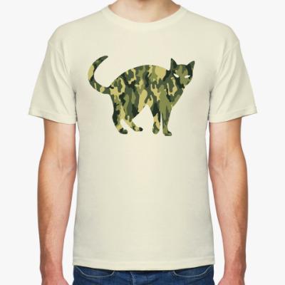 Футболка Кот цвета хаки (military cat) на 23 февраля