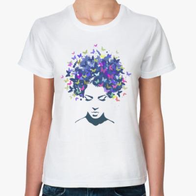 Классическая футболка Девушка мотылёк