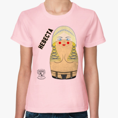 Женская футболка Невеста матрешка