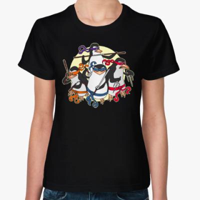 Женская футболка Пингвины ниндзя