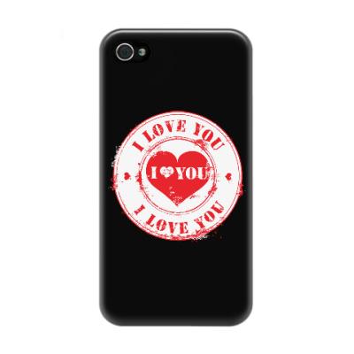 Чехол для iPhone 4/4s Печать I Love You