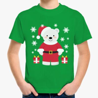 Детская футболка Новогодний полярный медведь