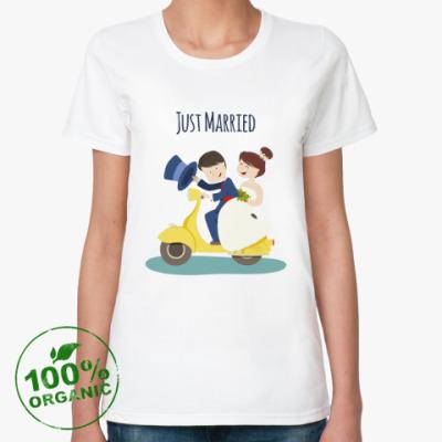Женская футболка из органик-хлопка Прикольная для молодоженов