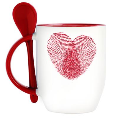Кружка с ложкой Отпечатки Любви