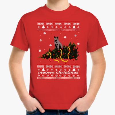 Детская футболка Новогодний свитер с котом