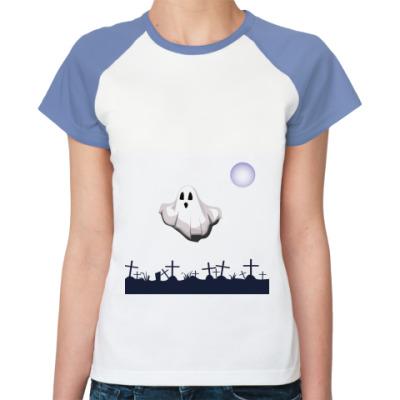 Женская футболка реглан Привидение