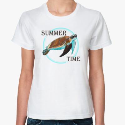Классическая футболка Лето Черепаха Summer time