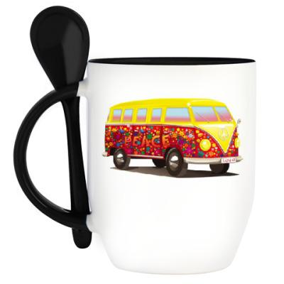 Кружка с ложкой Автобус для хиппи
