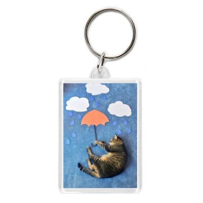 Брелок Кот на зонтике